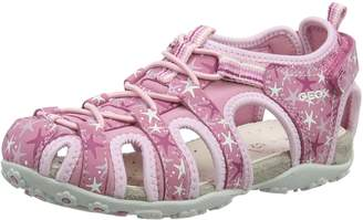 Geox Girl's JR Sandal Roxanne Fashion Sandals, Off White/Pink