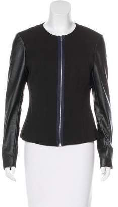 L'Agence LA't by Vegan Leather-Trimmed Woven Jacket