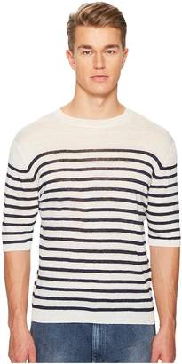 Eleventy Striped Linen Crew Neck T-Shirt
