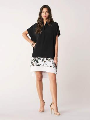 Diane von Furstenberg Hatsu New Silk Crepe De Chine Shirt Dress