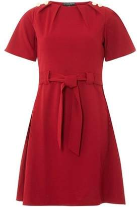 Dorothy Perkins Womens Red Belted Button Dress