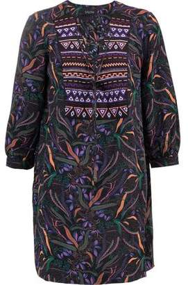 Cheap Sale 2018 Clearance Pay With Paypal Saloni Woman Gigi Lace-up Printed Silk Mini Dress Violet Size 8 Saloni Buy Cheap Genuine Clearance Official fqrkkI