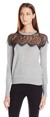 Buffalo David Bitton Women's Belacey Pullover Angora Blend Sweater with Lace Cutout Detail $79 thestylecure.com