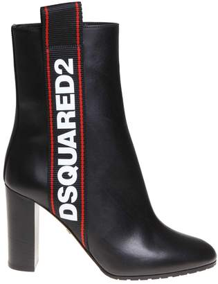 DSQUARED2 Ankle Boot In Black Leather