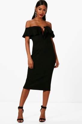 boohoo Ring Detail Suedette Midi Dress