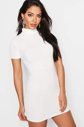 boohoo High Neck Fitted Mini Dress