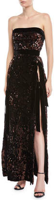 Elie Saab Strapless Side-Slit Paillette Evening Gown with Velvet Bows