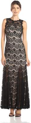 Betsy & Adam Women's Sleeveless Lace Jewel Yoke Godet Gown, Black/Nude