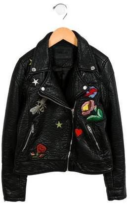 Blank NYC Girls' Patchwork Biker Jacket w/ Tags
