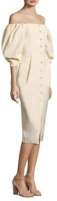 Sea Poof-Sleeve Pencil Dress