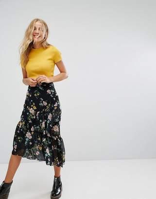 Bershka Floral Print Ruffle Midi Skirt