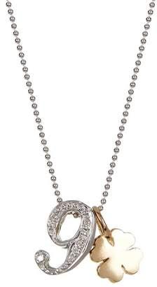 Alex Woo 14K White Gold Little Number '9' Diamond Pendant Necklace - 0.03 ctw