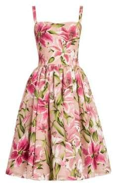 Dolce & Gabbana Lily Print Organza Dress