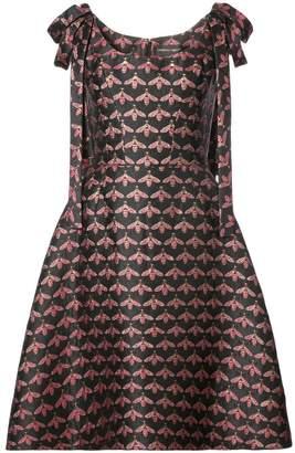 f11d8d7000bafc Christian Siriano shoulder bow bee print A-line dress
