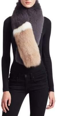 The Fur Salon Fox Fur Colorblock Scarf