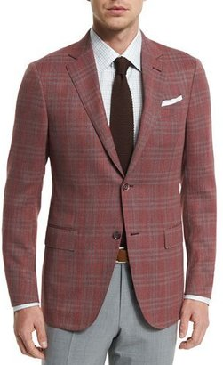 Ermenegildo Zegna Plaid Two-Button Jacket, Red/Gray $2,495 thestylecure.com