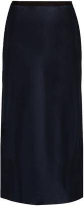 HELMUT LANG Raw-edge satin midi skirt $415 thestylecure.com