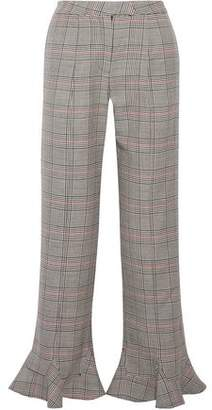 Rosie Assoulin Ruffle-Trimmed Checked Wool Flared Pants