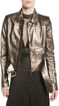 Elie Saab Metallic Leather Moto Jacket