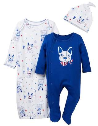 Vitamins Baby Nautical Frenchie 3-Piece Set (Baby Boys 0-3M)