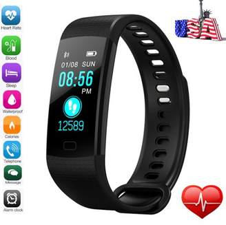 Kingslim 2018 Smart Watch Blood Pressure Oxygen Heart Rate Fitness Sports Wrist Band Bracelet for Android iOS -Black