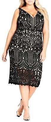 City Chic Peekaboo Lace Sheath Dress