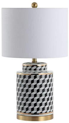 """Ellie 24.5"""" Tumbling Block Ceramic, Metal Led Table Lamp"""