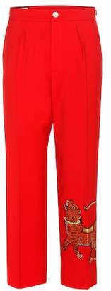 Gucci Embellished wool cropped trousers