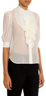 Givenchy Ruffled-Front Silk Button-Front Shirt