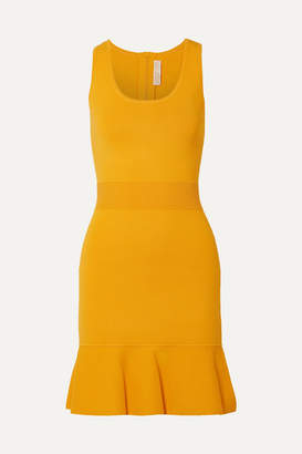 MICHAEL Michael Kors Fluted Stretch-knit Mini Dress - Saffron