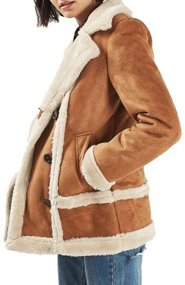 Women's Topshop Faux Shearling Car Coat $150 thestylecure.com