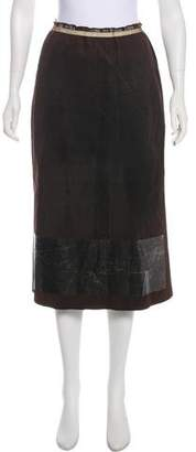 Rozae Nichols Suede Mesh-Trimmed Skirt