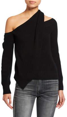 RtA Juliet Draped Off-Shoulder Sweater