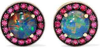 Andrea Fohrman 18-karat Rose Gold, Ruby And Opal Earrings - one size
