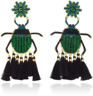 Mercedes Salazar Escarabajo Verde Gold-Plated Tassel Earrings
