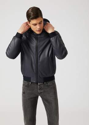Emporio Armani Light Nappa Bomber Jacket With Hood