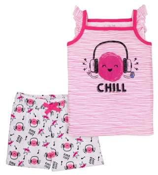 Little Star Organic Little Star Toddler Girl Ruffle Tank & Shorts, 2pc Outfit Set