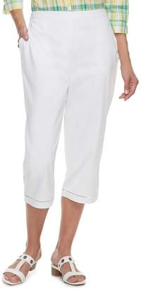 Alfred Dunner Women's Studio Crochet Hem Pull-On Capri Pants