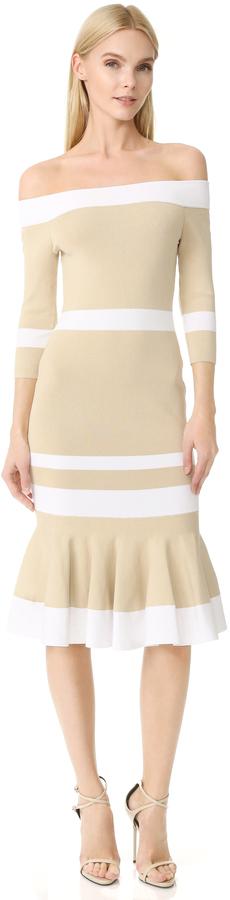 Jonathan Simkhai Bold Stripe Off Shoulder Trumpet Dress