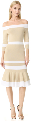 Jonathan Simkhai Bold Stripe Off Shoulder Trumpet Dress $595 thestylecure.com