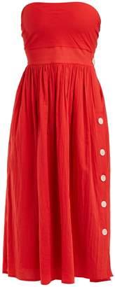 LOUP CHARMANT Strapless tie-back cotton dress