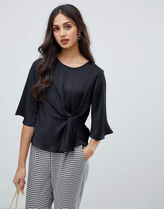 Miss Selfridge satin blouse with twist front in black