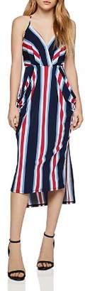 BCBGeneration Striped Faux-Wrap Midi Dress