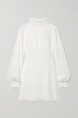 Les Héroïnes The C.j. Shirred Crepe Mini Dress - Ivory