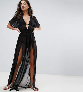 Asos Tall DESIGN Tall shirred waist maxi chiffon beach kaftan