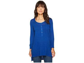 Mod-o-doc Featherweight Slub Jersey Henley Tunic with Side Slits Women's Blouse