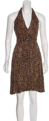 Michael Kors Leopard Print Halter Dress