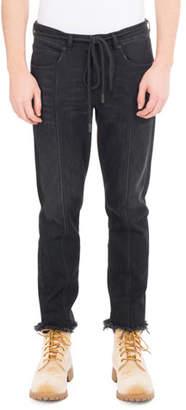 Off-White Checker Denim Cropped Straight-Leg Jeans