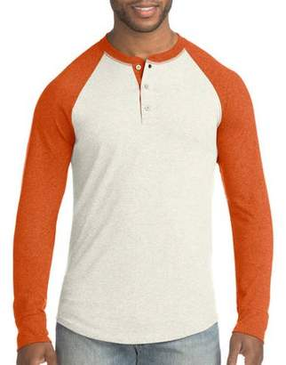 Hanes Big Men's FreshIQ X-Temp Colorblock Long-Sleeve Raglan Henley Tee
