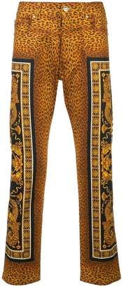 Versace leopard slim-fit trousers